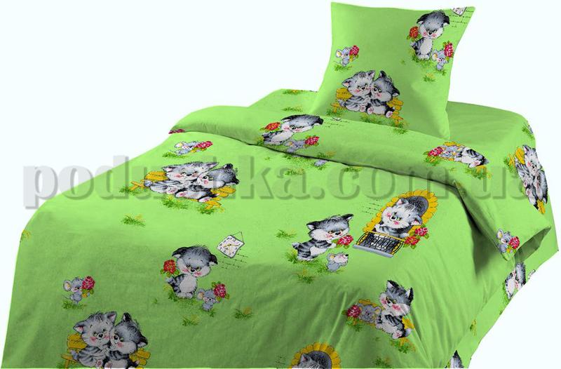 Постельное белье в кроватку Котята зеленые ситец (с1003_73911)
