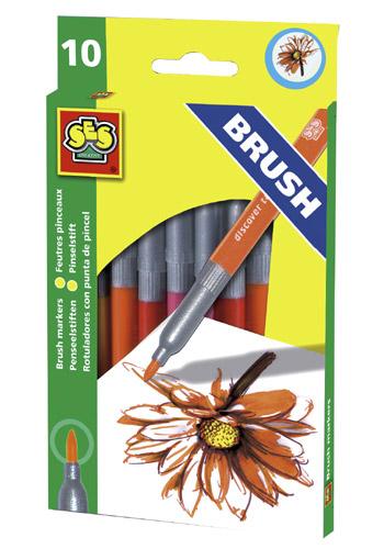 Набор цветных маркеров - ЗАБАВНЫЕ КИСТОЧКИ (10 цветов)