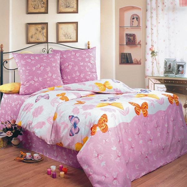 Постельное белье Бабочки розовый