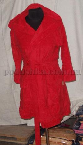 Халат женский махровый короткий с капюшоном Nusa NS-305