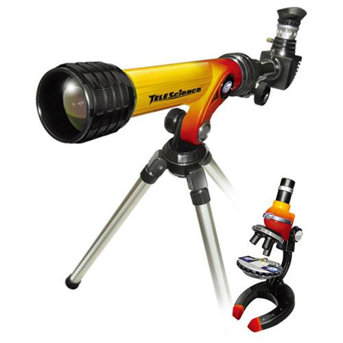 Набор микроскоп  и телескоп желто-красного цвета