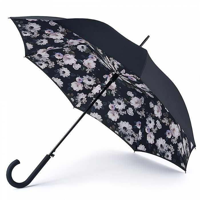 Женский зонт-трость Fulton Bloomsbury-2 L754 Mono Bouquet черно-белый букет