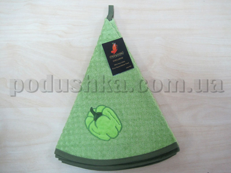 Полотенце махровое кухонное круглое Mariposa Перец зеленое