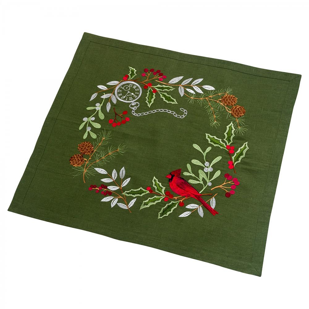 Настольник льняной Merry Christmas Гармония зеленый