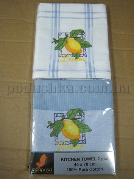 Набор вафельных кухонных полотенец Mariposa Лимон синий