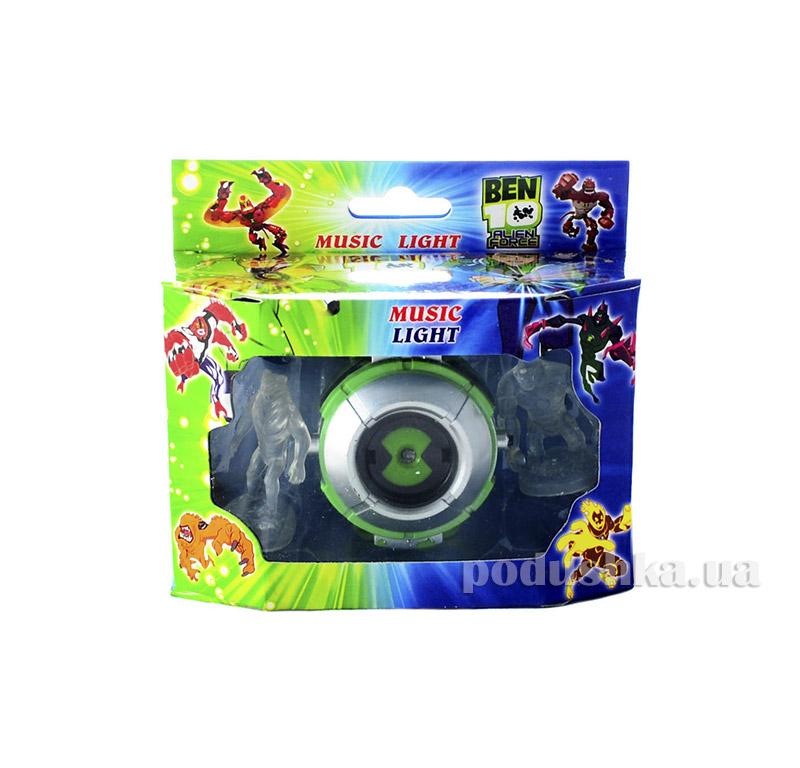 Часы Alien Force зелёные, круглые c проектором и двумя фигурками BEN-10 222-b