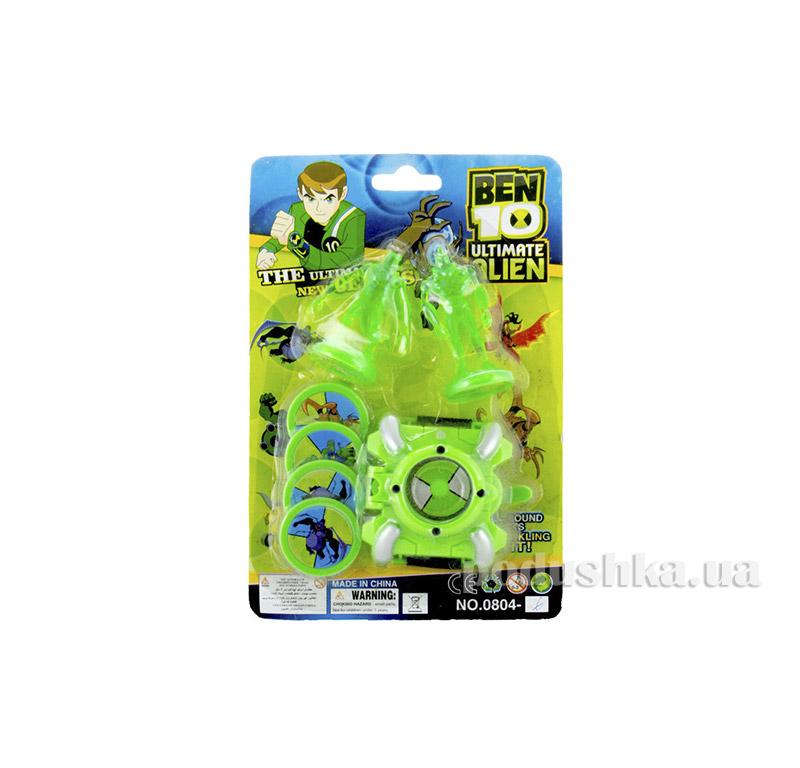 Часы c 2-мя зелеными фигурками Ultimate Alien Ben 10 0804-6