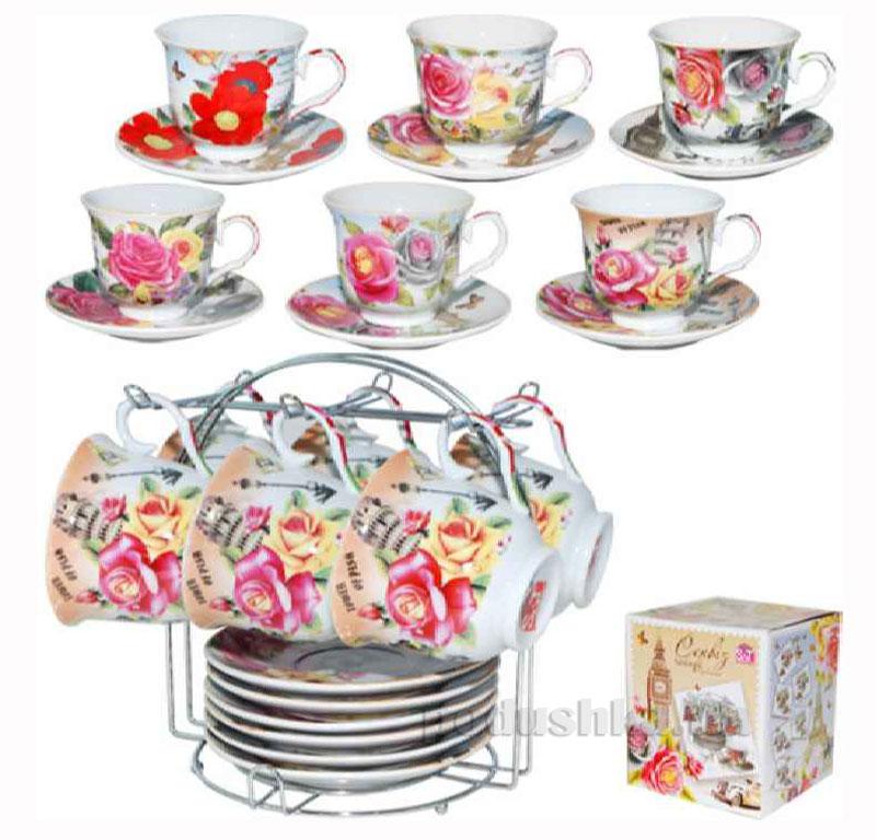 Чайный сервиз 12 предметов Цветы микс ST 1250