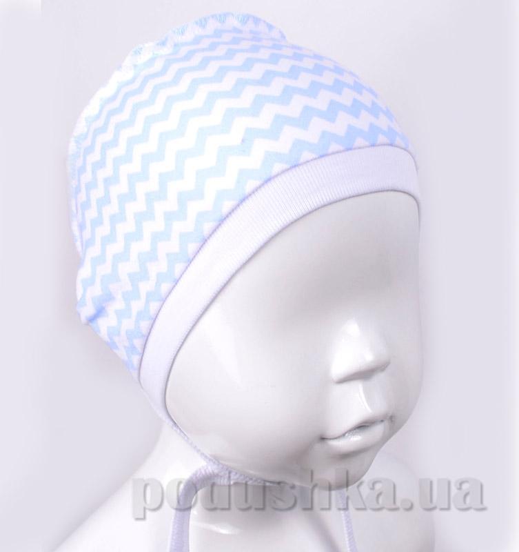 Чепчик Татошка 05607 интерлок бело-голубой принт Зигзаг
