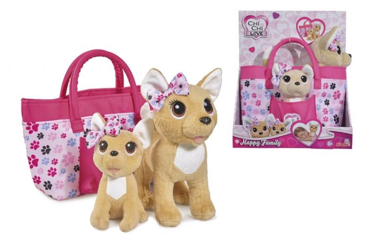 Игровой набор CCL Собачки Чихуахуа Счастливая семья с сумочкой 20 и 14 см Chi Chi Love 589 3213