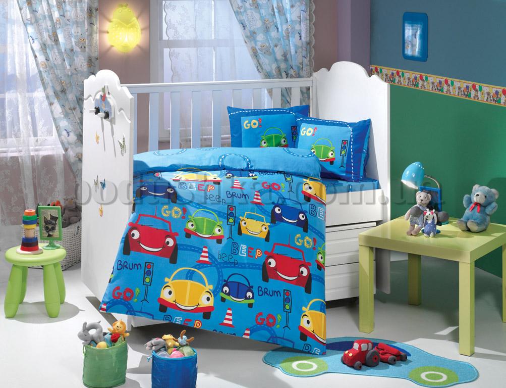 Постельное белье в кроватку Hobby Cars голубой