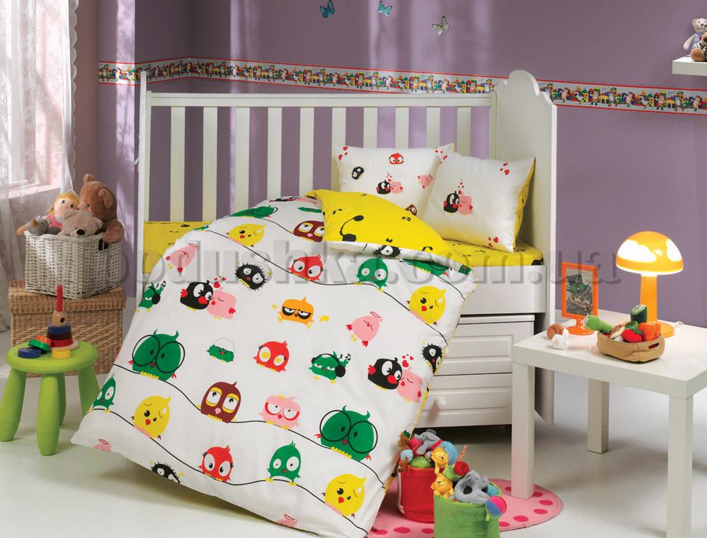 Постельное белье в кроватку Hobby Crazy birds желтый