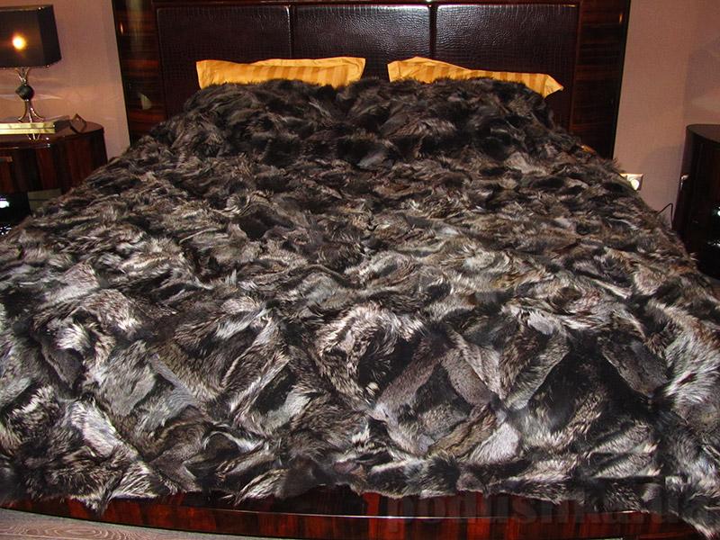 Покрывало Autstone из натурального меха черно-бурой лисы