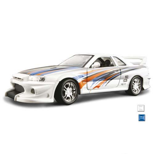 Автомодель - Nissan Skyline R34 GT-R  (ассорти синий, черный, 1:24)