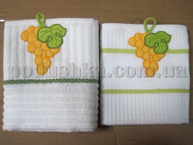 Набор кухонных полотенец Mariposa Виноград желтый (вафельное и махровое)
