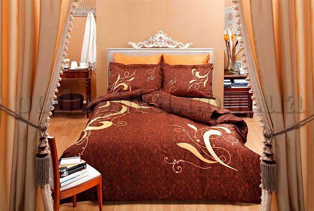 Постельное белье TAC Eva коричневый сатин