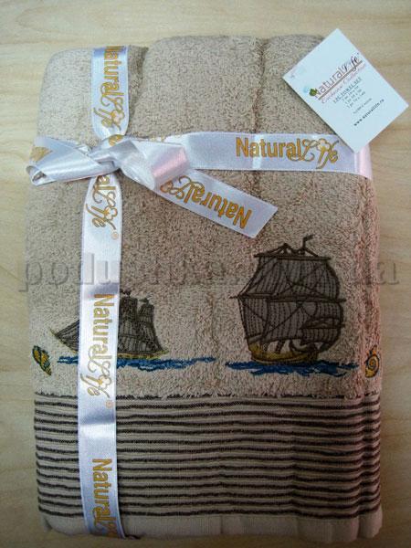 Набор махровых полотенец Mariposa Корабли бежевые