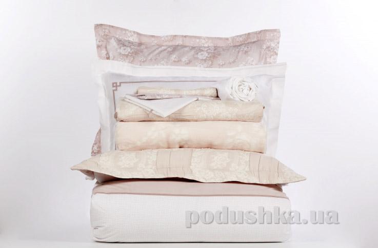 Постельное белье с покрывалом и пледом Karaca Timeless best pudra Двуспальный евро комплект с пледом и покрывалом Karaca home