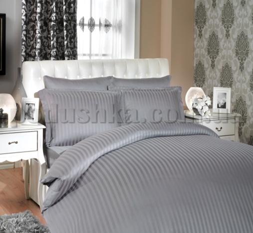 Постельное белье Hobby Bamboo Diamond Stripe серый