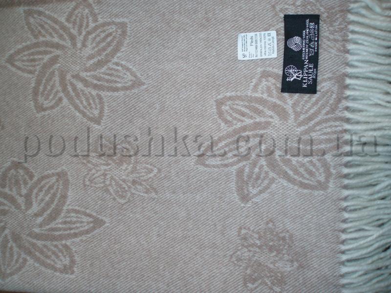Плед шерстяной (меринос) 6608 Бежевые цветы