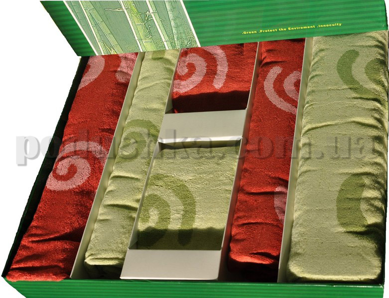 Набор бамбуковых полотенец Le Vele из 6 штук зеленые и бордовые