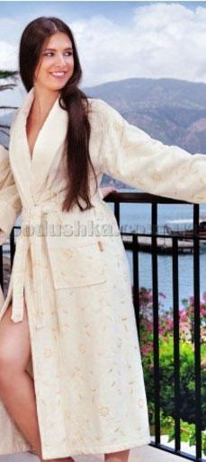 Халат женский велюровый длинный с вышивкой Nusa NS-1540