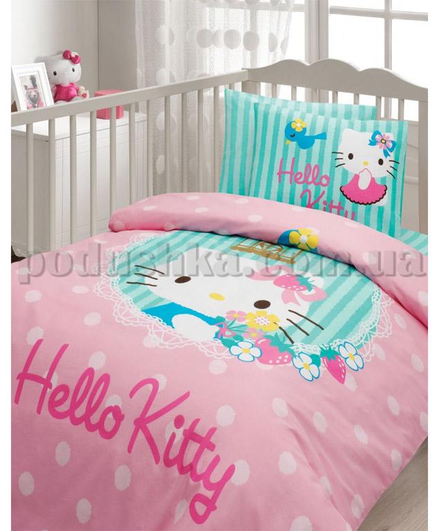 Спальный комплект в кроватку Karaca Hello Kitty Soft бирюзовый - 7 предметов