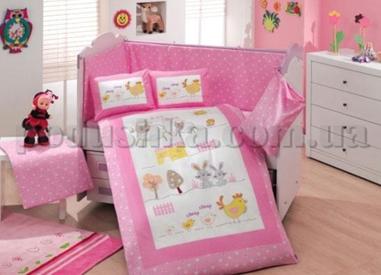 Набор в кроватку для новорожденных Hobby Zoo розовый 10 предметов ранфорс