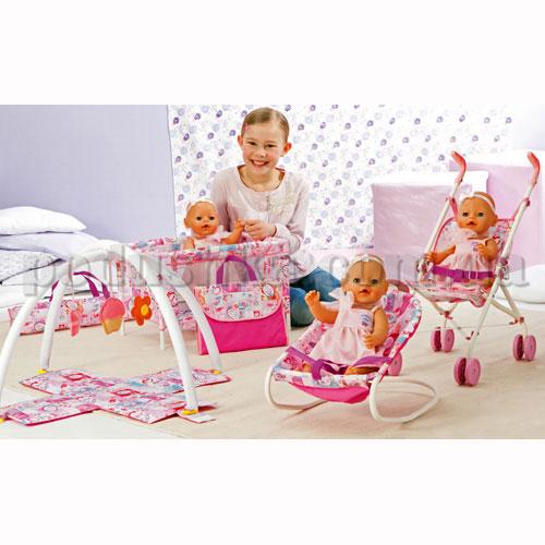 Набор аксессуаров для куклы Baby Born - С Первых Дней (манеж, сумочка, коврик, кресло-качалка)