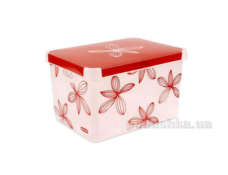 Декоративная коробка Curver Stockholm Milky Red & White Lilly XL