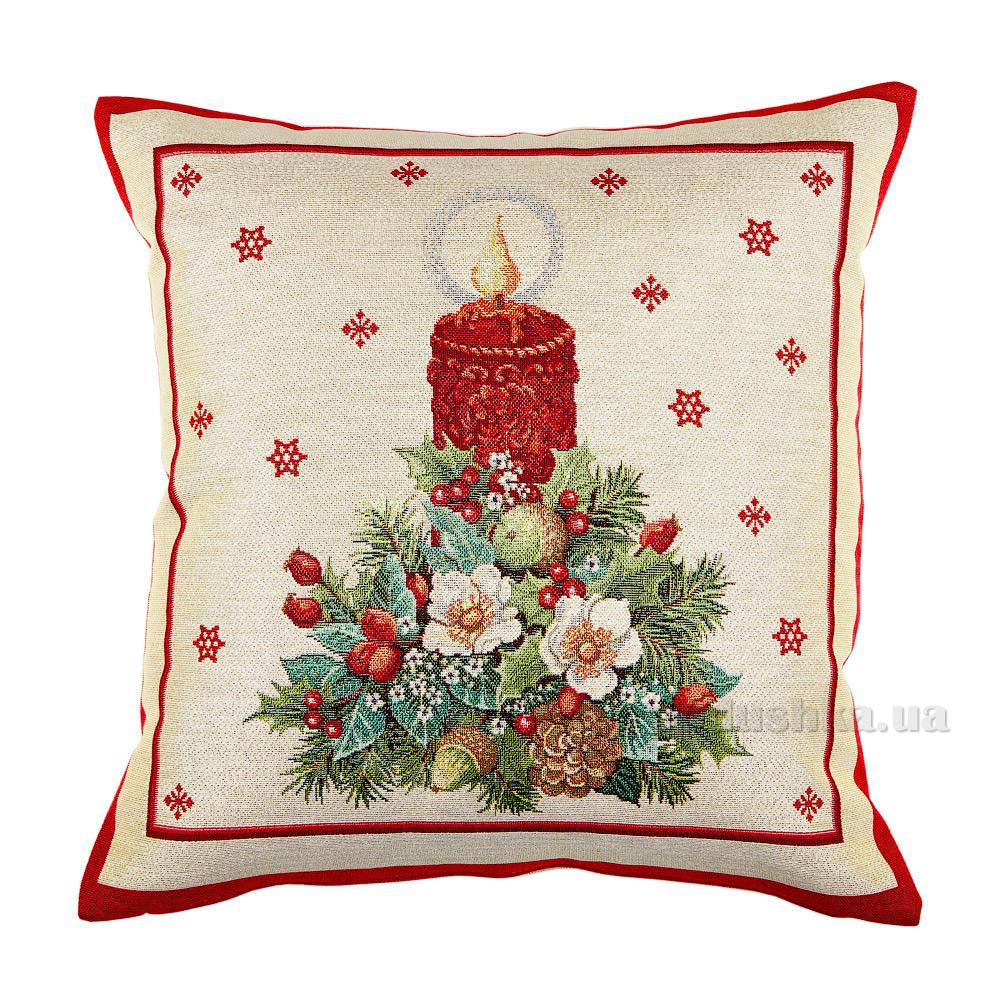 Декоративная новогодняя наволочка LiMaSo Рождественская свеча KISS242