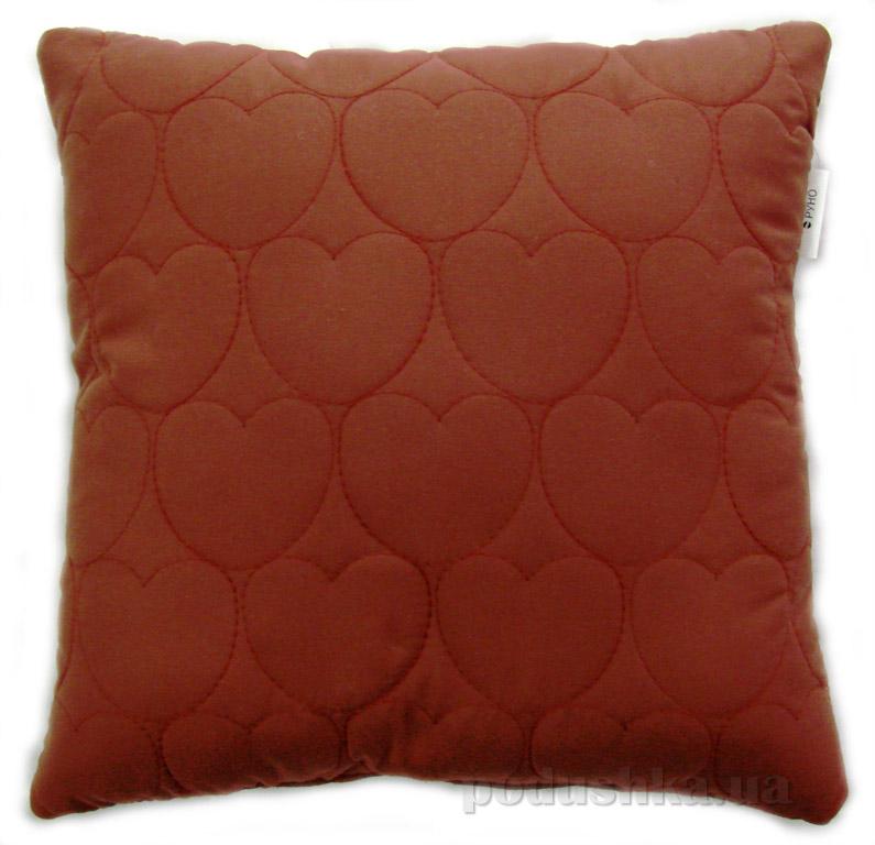 Декоративная подушка Руно Сердечки бордовая