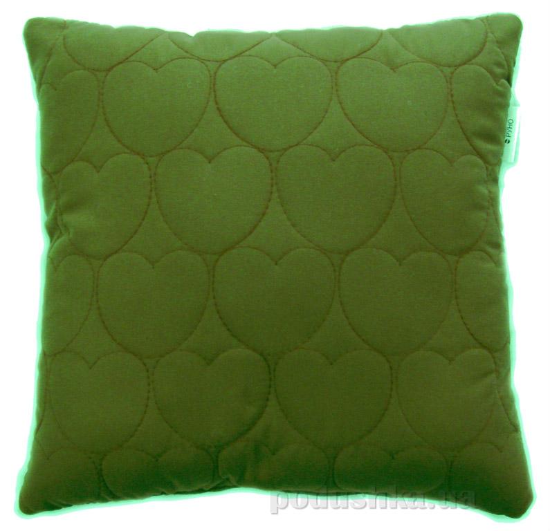 Декоративная подушка Руно Сердечки зеленая