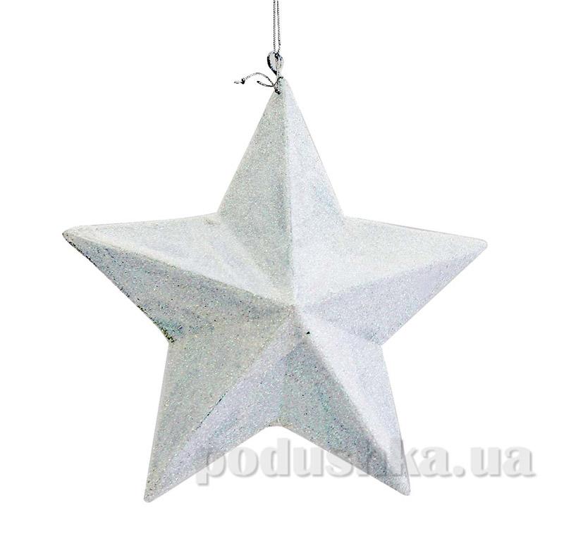 Декоративная подвеска белая Звезда Новогодько 971381