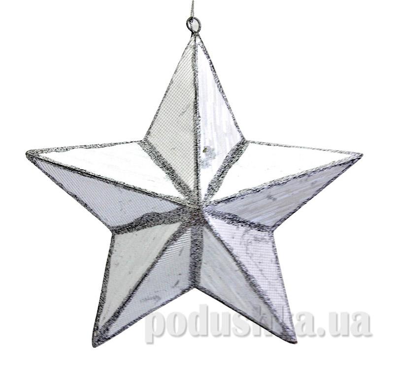 Декоративная подвеска серебряная Звезда Новогодько 971380