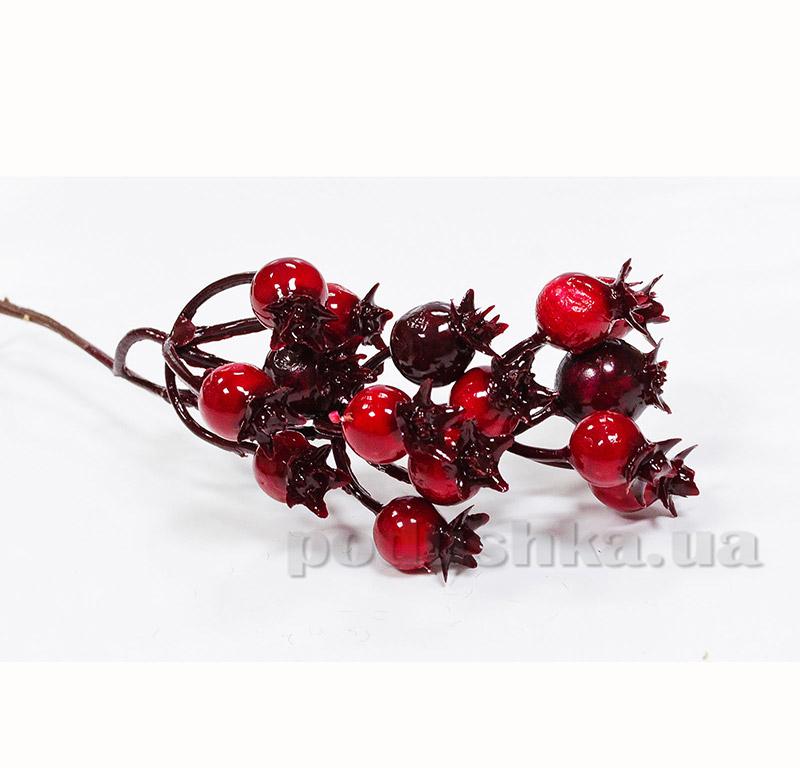 Декоративные ягоды красно-бордовые Новогодько 972347