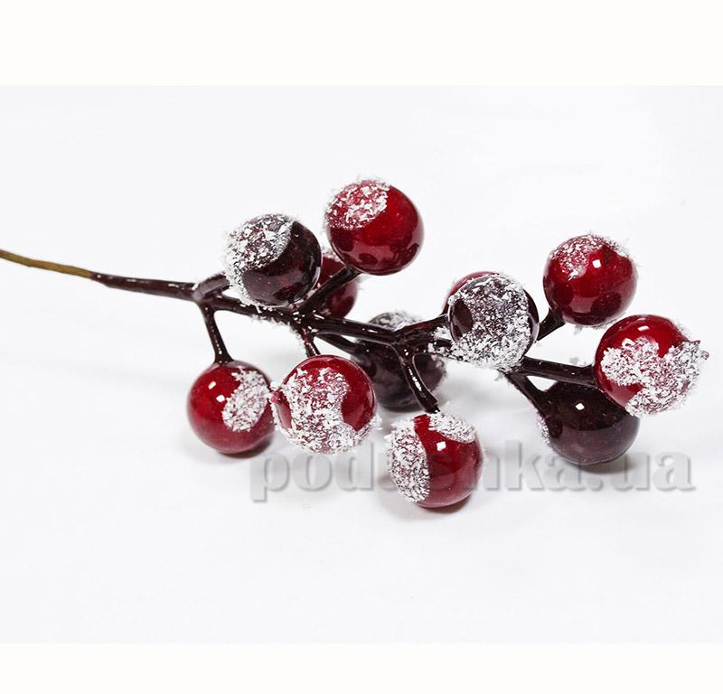 Декоративные ягоды красно-бордовые в снегу Новогодько 972331