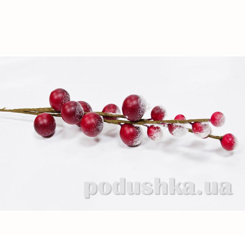 Декоративные ягоды красные с эффектом снега Новогодько 972325