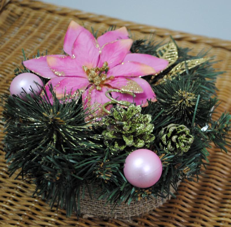 Декоративный подсвечник на деревянном бруске Лоза и Керамика 11-40404 розовый цветок