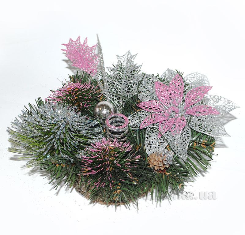 Декоративный подсвечник Серебро с розовым Лоза и Керамика