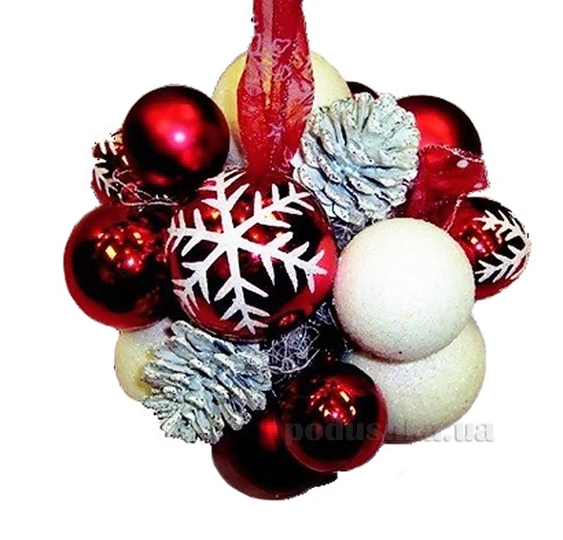 Декоративный шар с украшением красно-белый Новогодько 970377