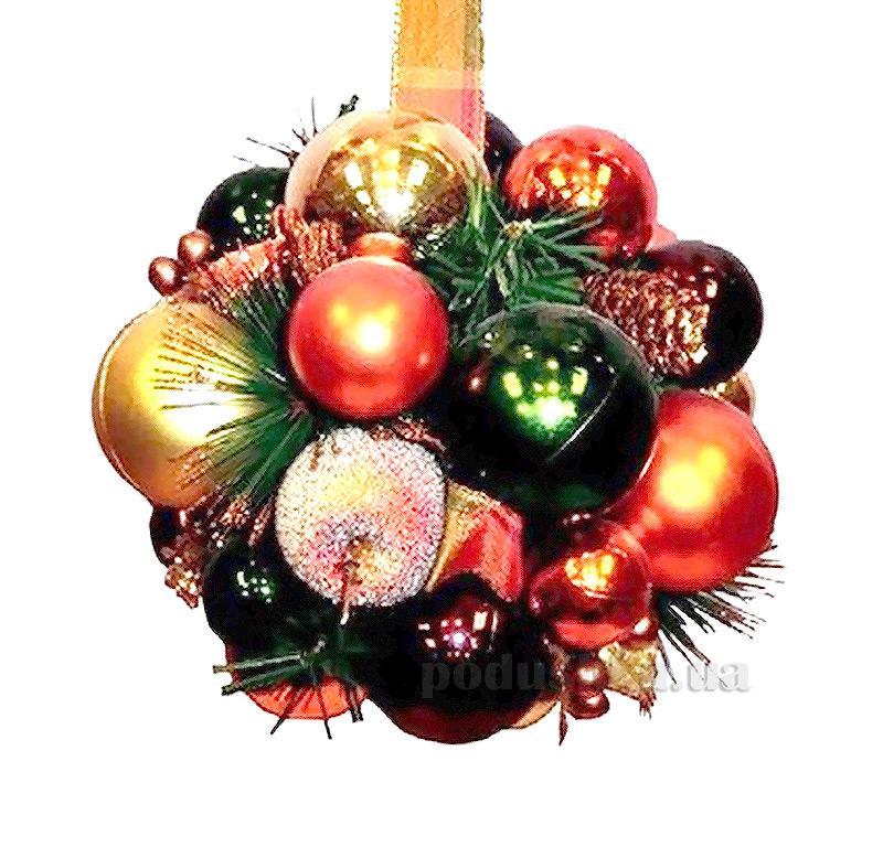 Декоративный шар с украшением красно-золотой Новогодько 800604