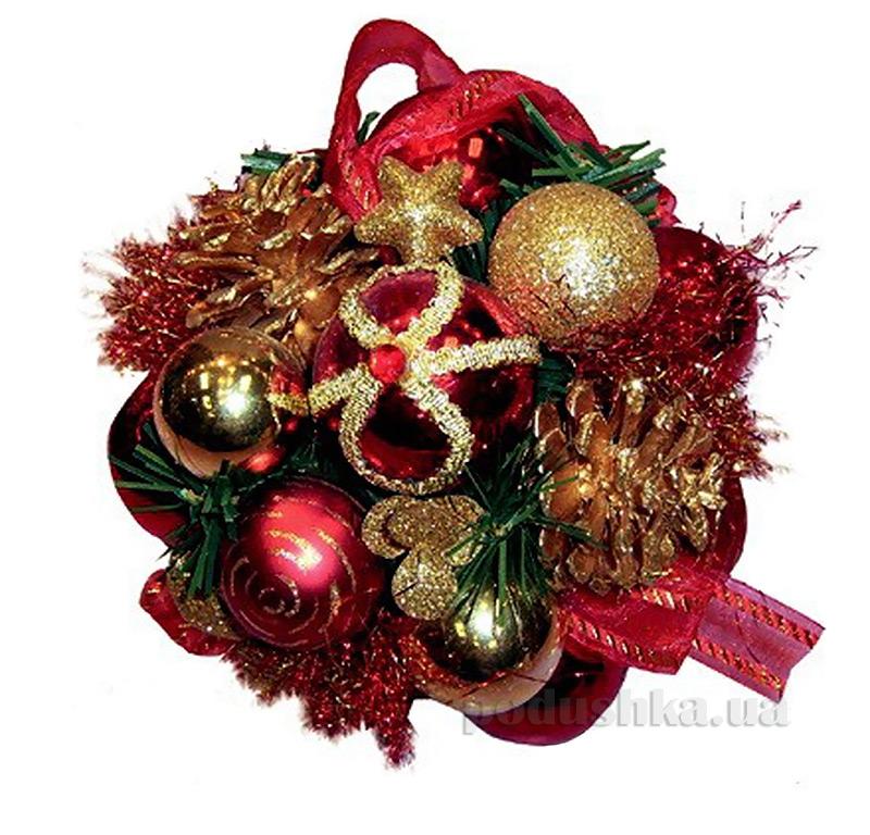 Декоративный шар с украшением золотисто-красный Новогодько 970374