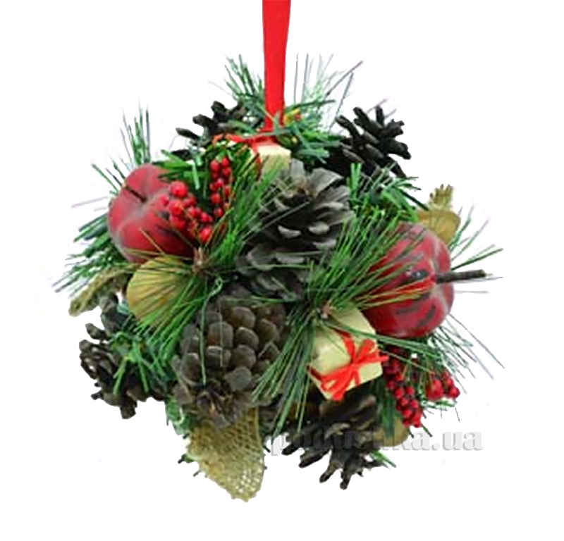 Декоративный шар Шишка с украшением Новогодько 800573