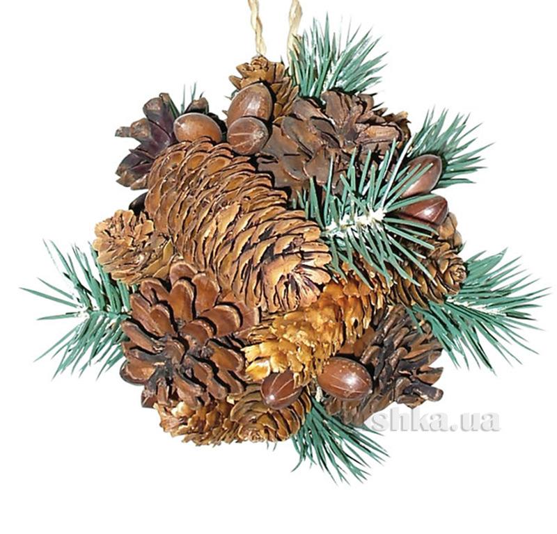 Декоративный шар Шишка с украшением Новогодько 800576