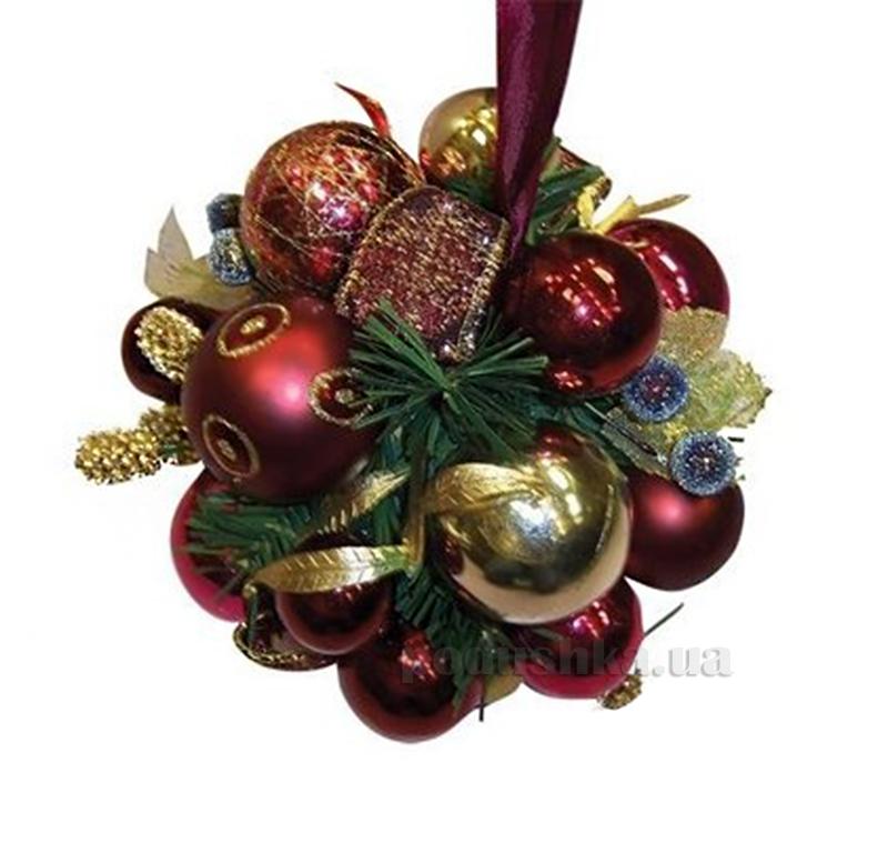 Декоративный шар с украшением бордовый Новогодько 970382