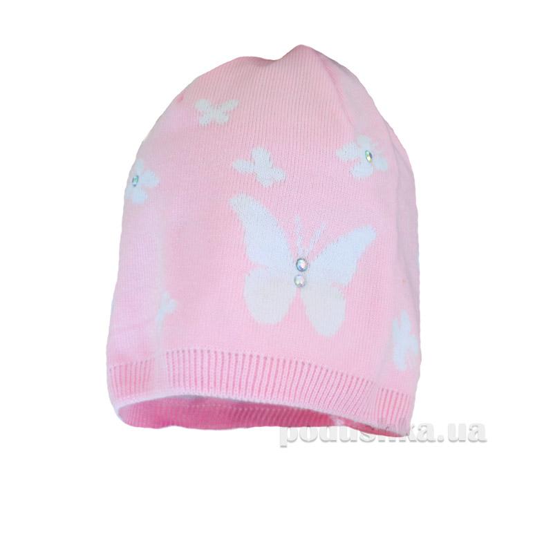 Демисезонная шапка Бабасик Дина розово-белая
