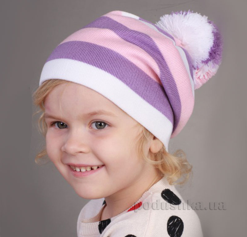Демисезонная шапка Бабасик Люба бело-сиреневая
