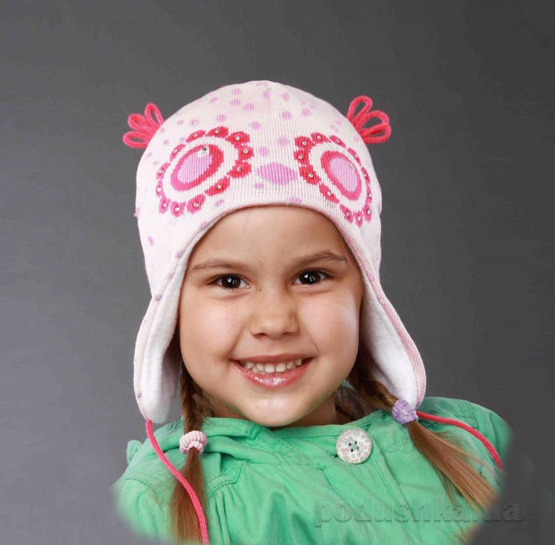 Демисезонная шапка Бабасик Сонька бело-розовая