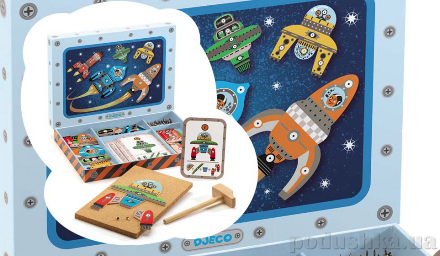 Деревянная игра апликация с молоточком Космодром Djeco DJ06642